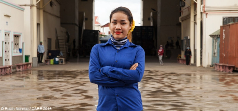 Pisey, age 20, a garment factory worker from Kampong Speu, Cambodia