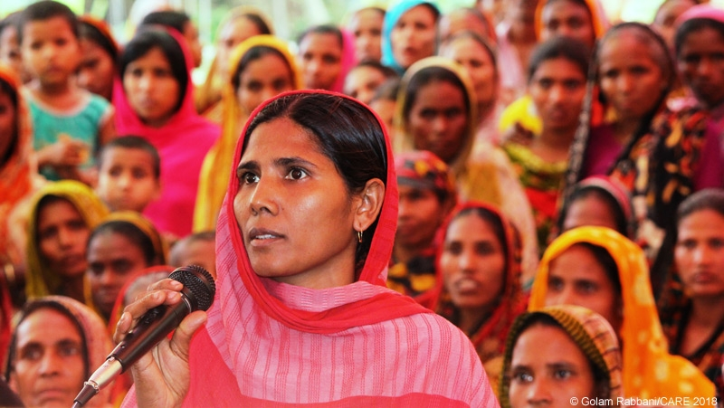 Woman speaking at a local open budget meeting, Bangladesh