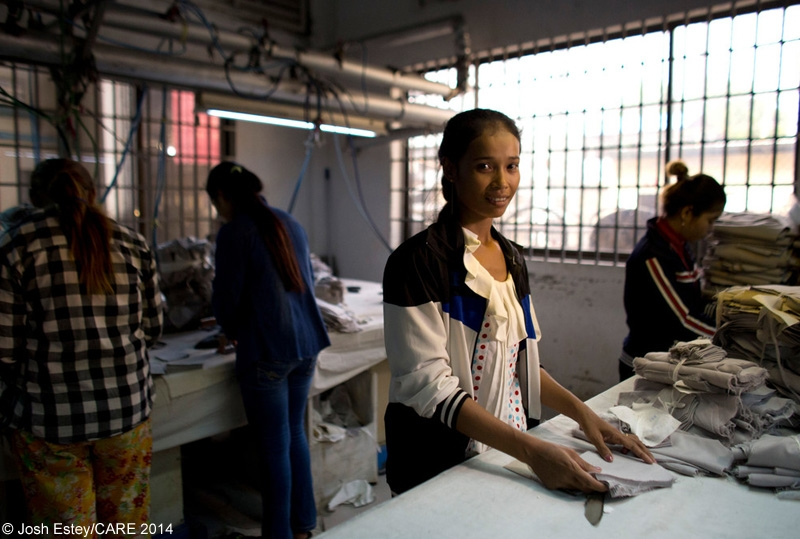 Women working in a garment factory in Cambodia