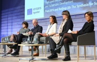 The panel discussing 'Empowering economics: Enabling an environment conducive to the full participation of women'. Cathy Pieters is second from right and Sofia Sprechmann is in the middle.