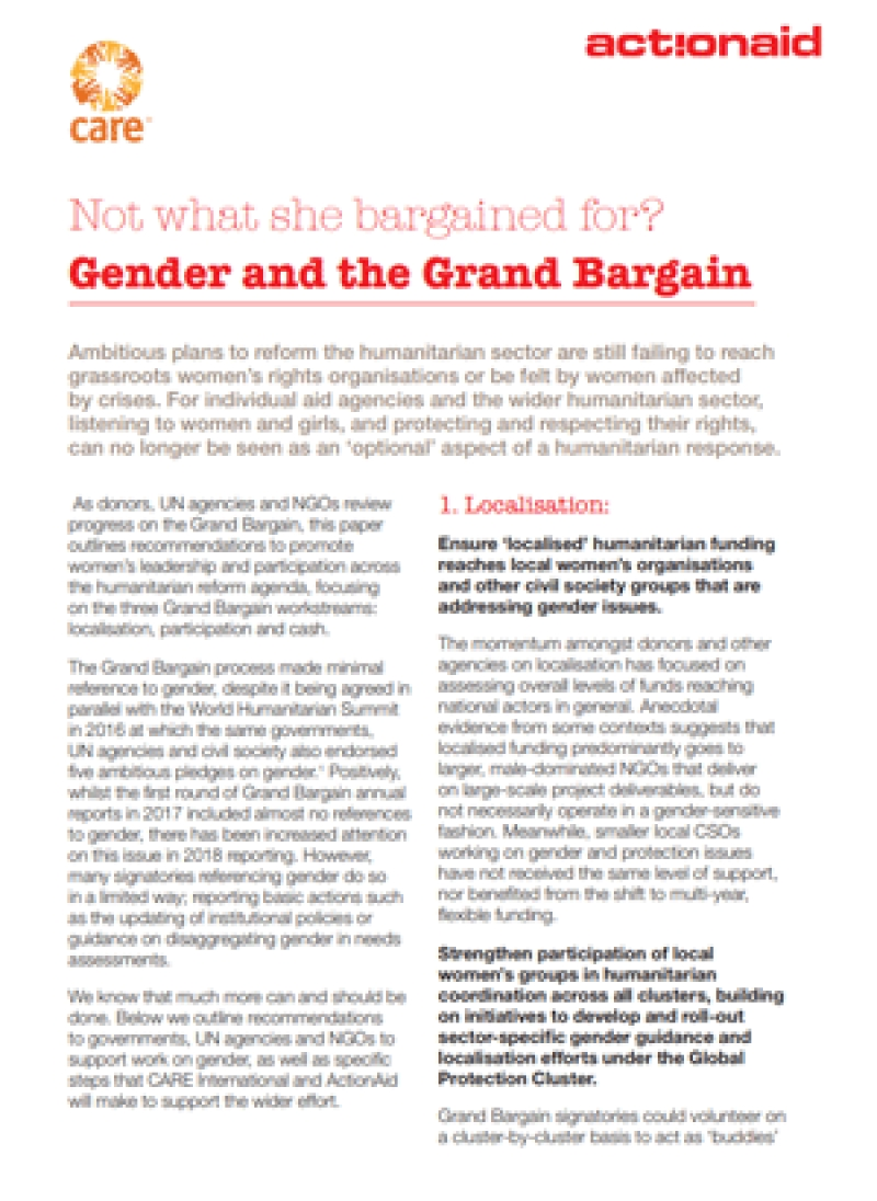 Not what she bargained for? Gender and the Grand Bargain
