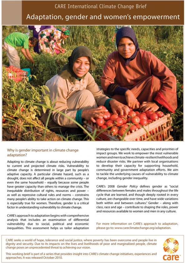Adaptation, gender and women's empowerment