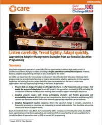 Listen carefully. Tread lightly. Adapt quickly. – Approaching Adaptive Management: Examples from our Somalia education programming
