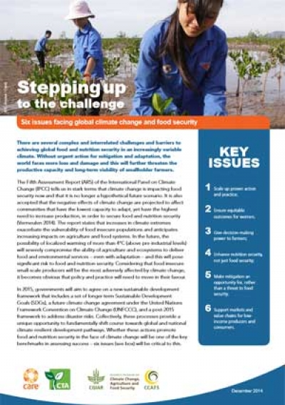 Stepping up to the challenge: Six issues facing global climate change and food security