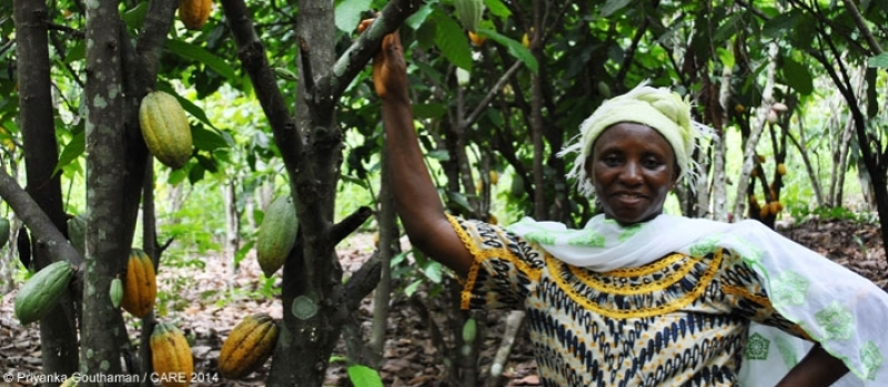 A woman cocoa farmer in Cote d'Ivoire