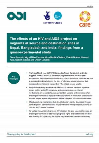 The effects of an HIV and AIDS project on migrants in Nepal, Bangladesh and India: findings from a quasi-experimental study