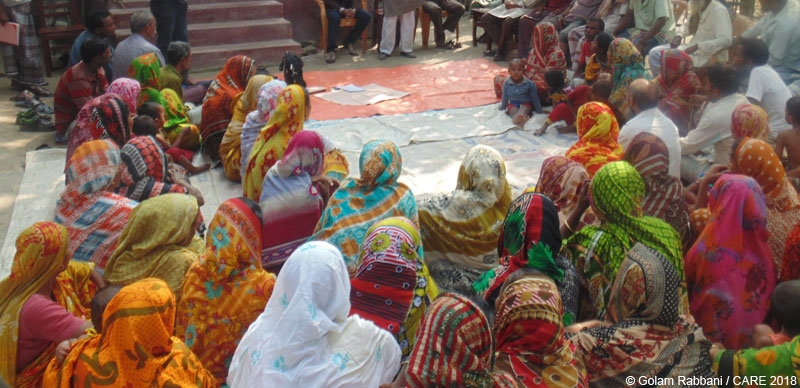 Women attending an open budget meeting under the JATRA project in Bangladesh
