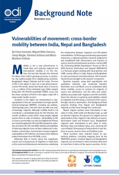 Vulnerabilities of movement: cross-border mobility between India, Nepal and Bangladesh