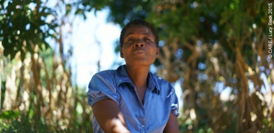 Evelyn Chimimba, a widowed mother of 8 children, is still managing to harvest some crops this year, despite the drought in Malawi