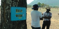 An information point for recipients of cash transfers in Zimbabwe