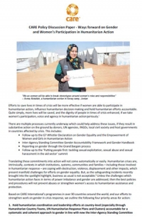 Ways forward on gender and women's participation in humanitarian action