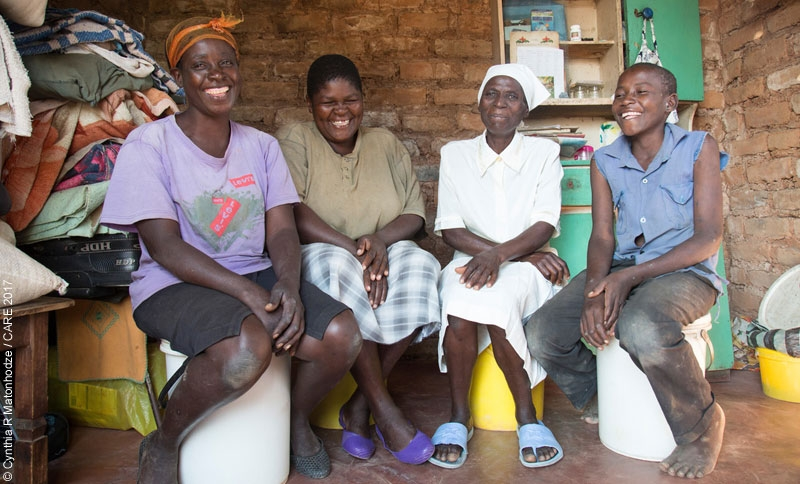 CARE cash transfer programme beneficiary and gender and accountability focal point Ropafadzo Gwenyama (second from right) with her family in Masvingo, Zimbabwe