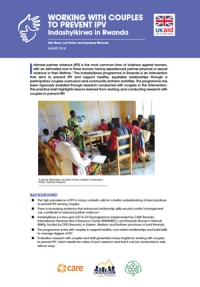 Working with couples to prevent IPV: Indashyikirwa in Rwanda - Practice brief