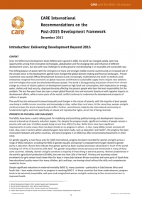 CARE International recommendations on the post 2015 development framework