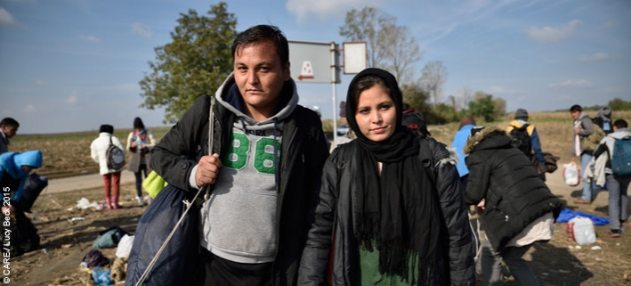 Two refugees from Afghanistan pictured by a roadside near the Serbia-Croatia border in 2015