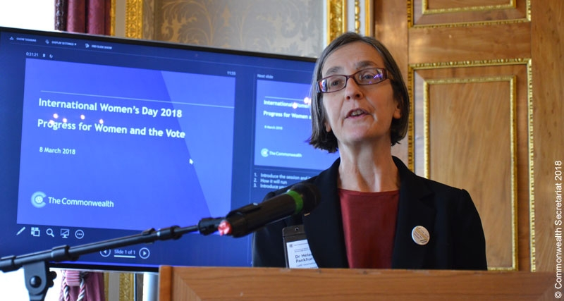 Helen Pankhurst delivering the International Women's Day Keynote Speech at the Commonwealth Secretariat