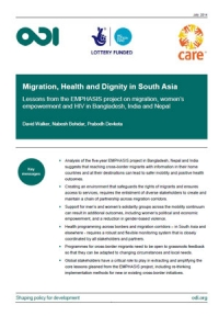 Migration, health and dignity in South Asia: Lessons from the EMPHASIS project on migration, women's empowerment and HIV in Bangladesh, India and Nepal