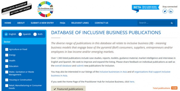 Screen grab of Search Inclusive Business website