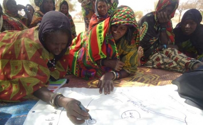 Women participating in a climate vulnerability and capacity analysis (CVCA) in Gorouol, Niger