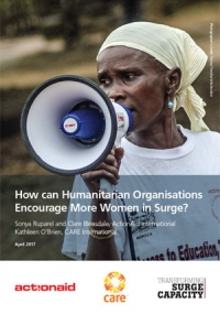 How can humanitarian organisations encourage more women in surge?
