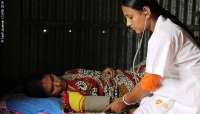 Champa Rani, a Private Community Skilled Birth Attendant, provides Sharker with ante-natal care in Sunamganj