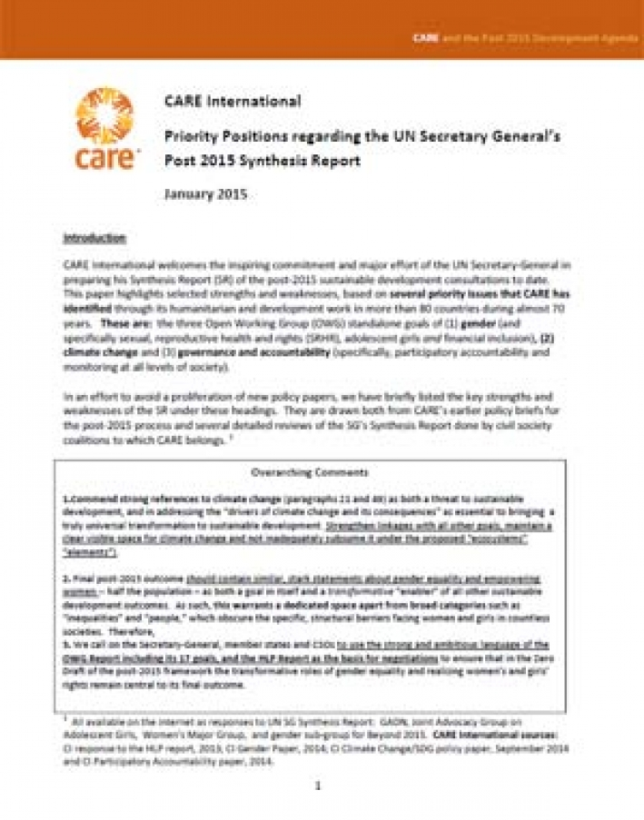CARE International Priority Positions regarding the UN Secretary General's Post-2015 Synthesis Report