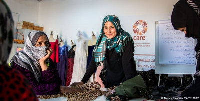 Women at Azraq refugee camp in Jordan participating in a CARE vocational training workshop