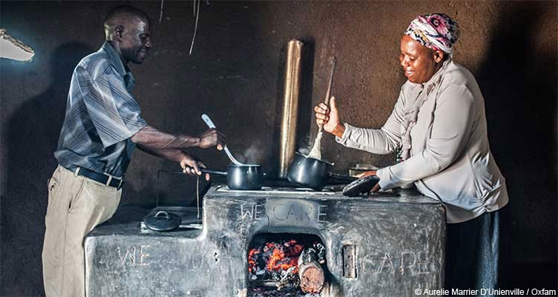 Paulina Sibanda and her husband Opheus Dube cook together in their kitchen in Zvishevane region, Zimbabwe