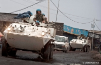 UN peacekeepers in armoured vehicles in the Democratic Republic of Congo