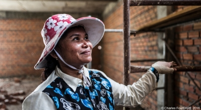 Woman employed in the construction industry in Cambodia.