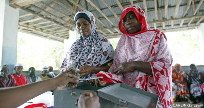 Women members of a village savings and loans association in Tanzania