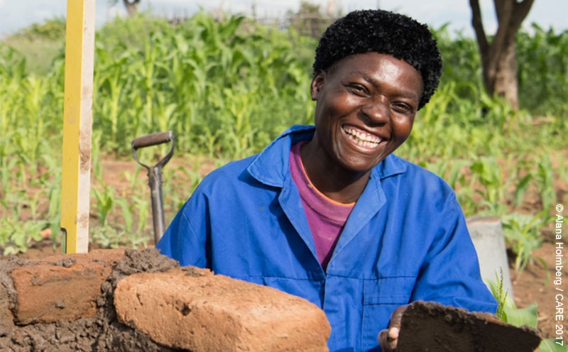Shangurai, a CARE-trained toilet builder in Chivi District, rural Zimbabwe