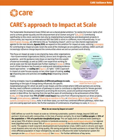 CARE's approach to Impact at Scale