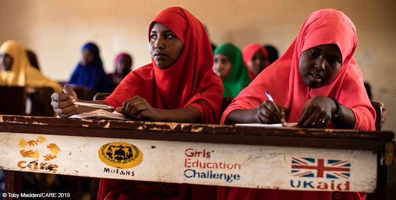 Girls in a school in Somalia supported by the DFID-funded Girls' Education Challenge