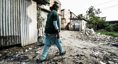 Sharmin Akhter on her way to the garment factory where she works in Bangladesh