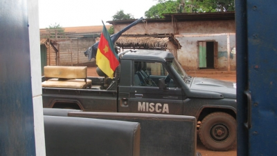 A jeep run by MISCA - the African-led International Support Mission to the Central African Republic