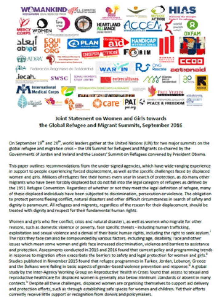 Joint Statement on Women and Girls towards the Global Refugee and Migrant Summits, September 2016