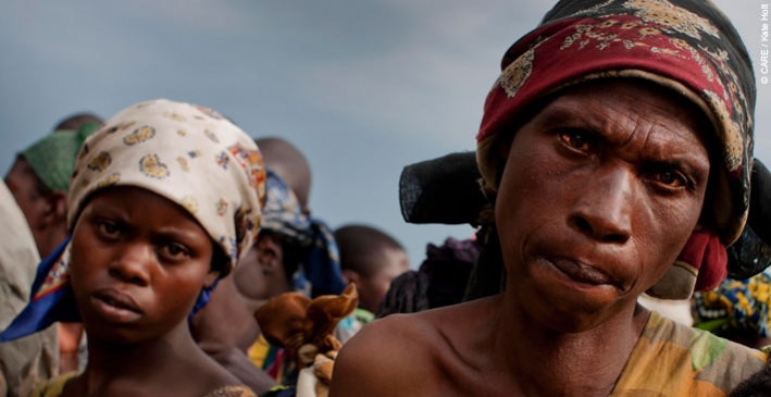A woman and her daughter who were forced to flee their home because of conflict in the Democratic Republic of Congo, 2012