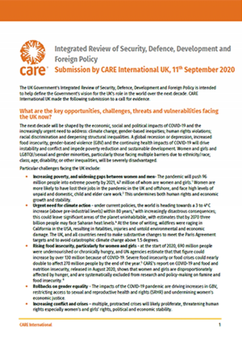 Integrated Review of Security, Defence, Development and Foreign Policy: Submission by CARE International UK