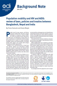 Population mobility and HIV and AIDS: review of laws, policies and treaties between Bangladesh, Nepal and India