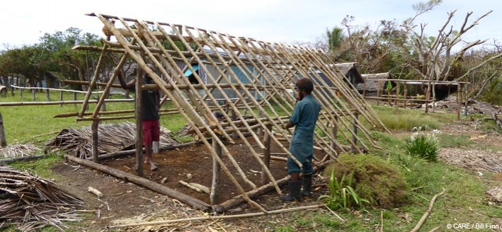 Re-building a house just a week after Cyclone Pam hit