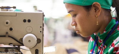 A garment worker at a factory in Cambodia
