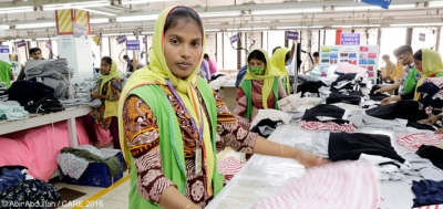 Fiedowshi works in the inspection section at a garment factory in Bangladesh