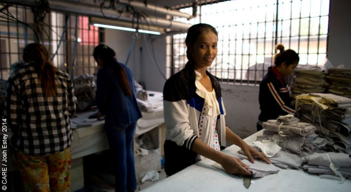 Workers in the garment industry in Cambodia