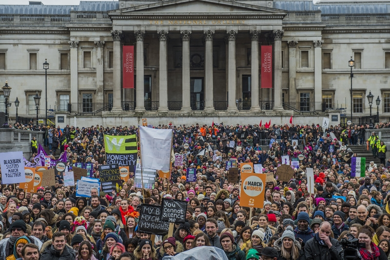 Crowds at #March4Women 2018, CARE International UK's annual International Women's Day event to campaign for gender equality