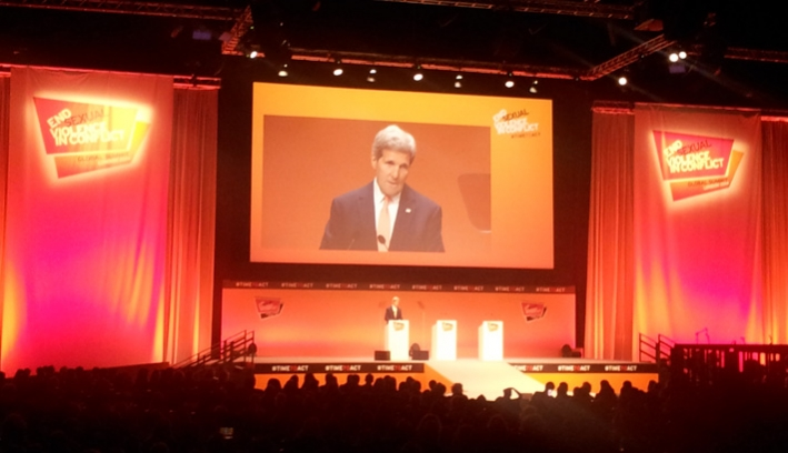 John Kerry speaking at the Global Summit to End Sexual Violence in Conflict