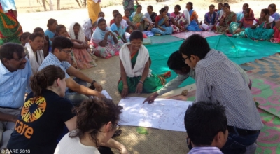 A meeting with the target group of a climate change adaptation project in Chhattisgarh, India