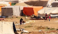 Hundreds of refugees' tents outside Amman, Jordan