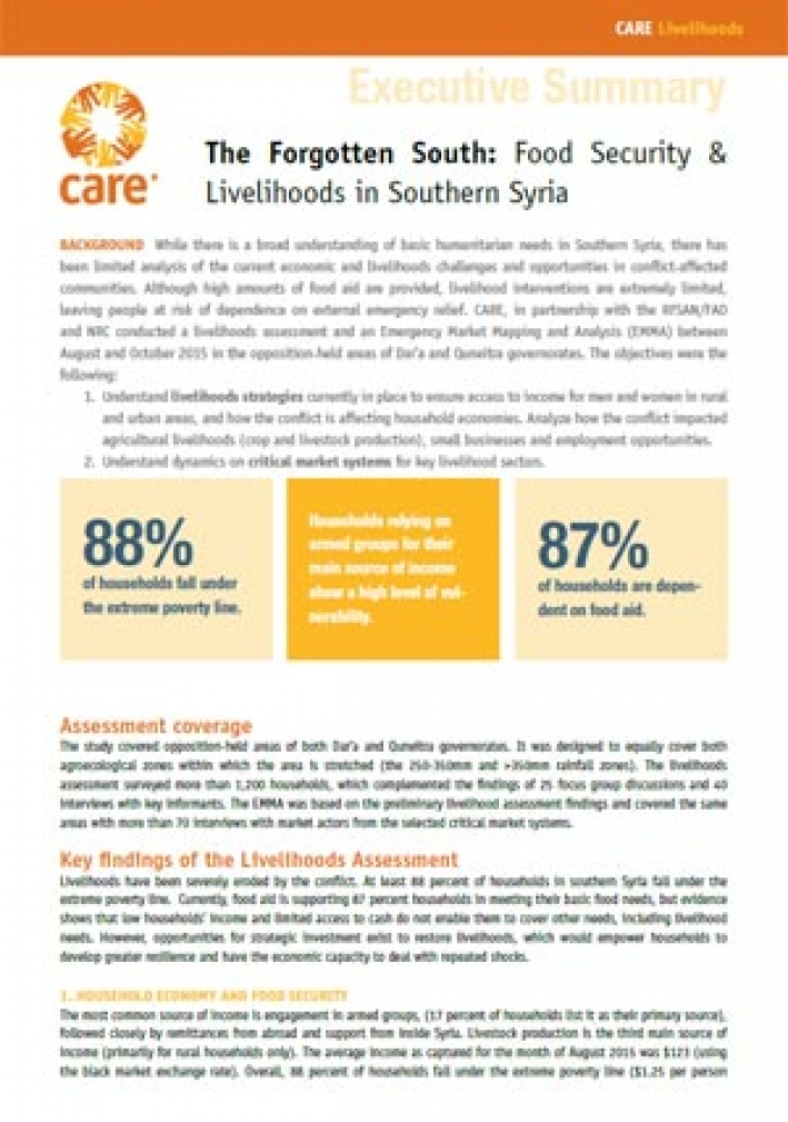 The Forgotten South: Food security and livelihoods in Southern Syria (Executive Summary)