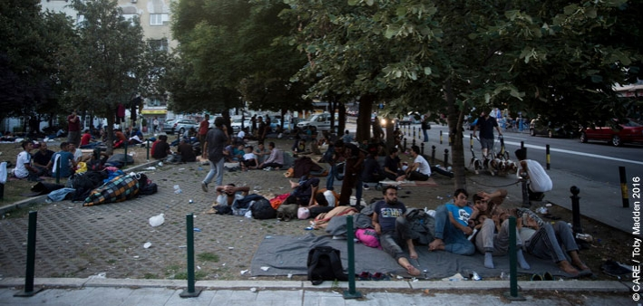 Refugees gathering in a park in Belgrade, Serbia, in July 2016